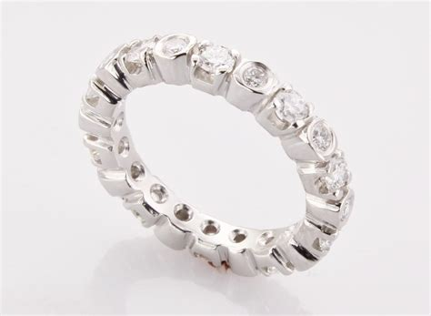 Ring With Diamonds Around It by S Platinum Eternity Band Made In Boston Ma