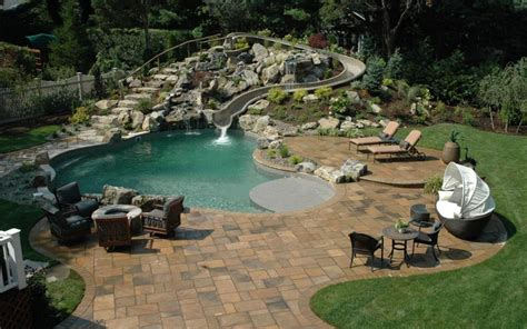 backyard pool water slides outdoor waterslides and pools the home touches