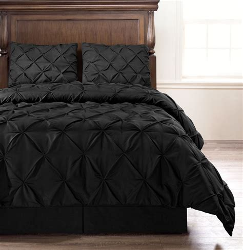 black bedding emerson black 4 pc pinched pleat comforter set full