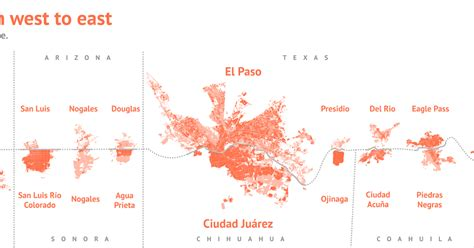 u s mexico border cities from west to east maps
