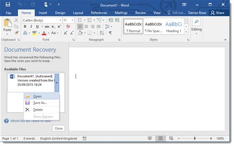 How To Recover Unsaved Word Document 2016