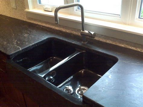 Black Leather Granite Kitchen by Granite Countertops With Custom Leather Finish