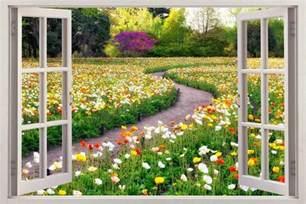 Garden Wall Mural flower garden 3d window view decal wall sticker home decor
