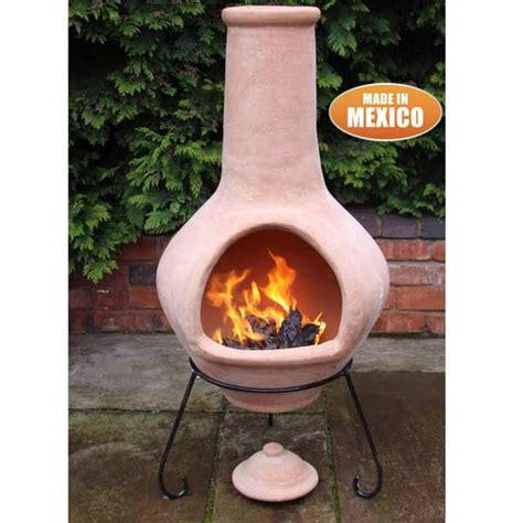 chiminea clay gardeco tibor clay chiminea terracotta 134cm on sale