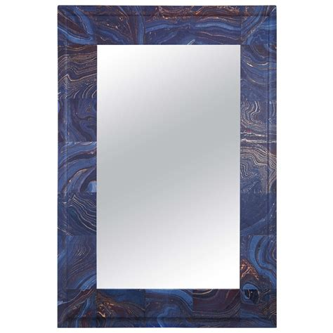 Decoupage Mirror - a decoupage mirror in blue at 1stdibs