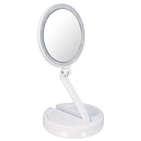 lighted travel makeup mirror 15x 15x lighted home and travel mirror bed bath beyond