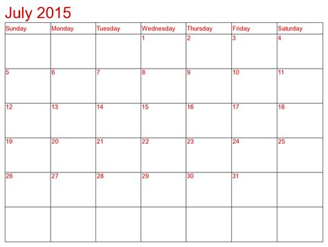 Calendar Template July 2015 8 Best Images Of Blank July 2015 Calendar Printable