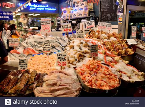fresh seafood stand at the pike s place public market