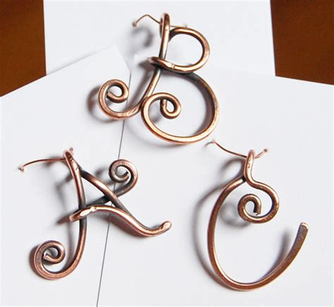wire hanger letter template initial pendant charm oxidized copper wire letter wire