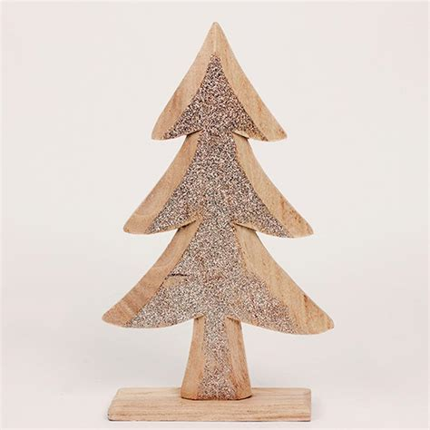 standing wooden christmas tree decoration roman at home
