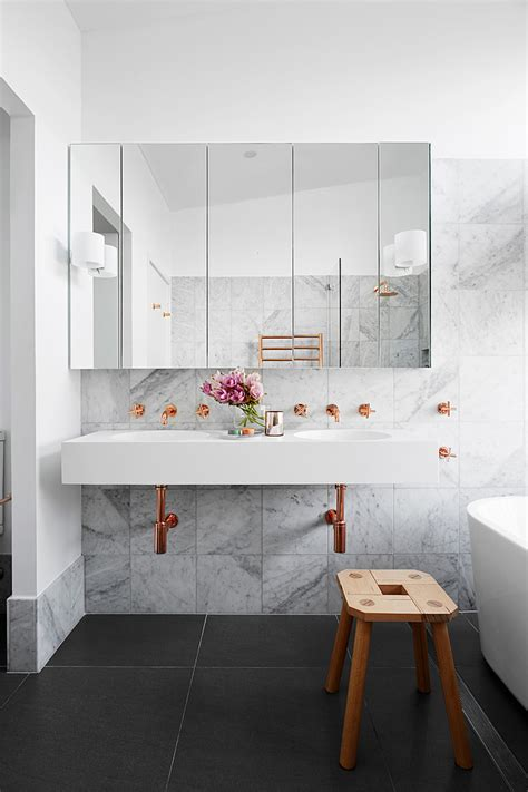 copper tiles bathroom how to add marble and copper to your a bathroom on a