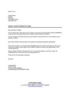Rental Termination Letter To Tenant by Notice Of Breach Of Lease Template Sle Form Biztree