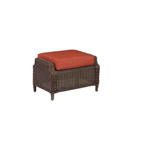 patio ottoman cushions hton bay park white wicker outdoor ottoman