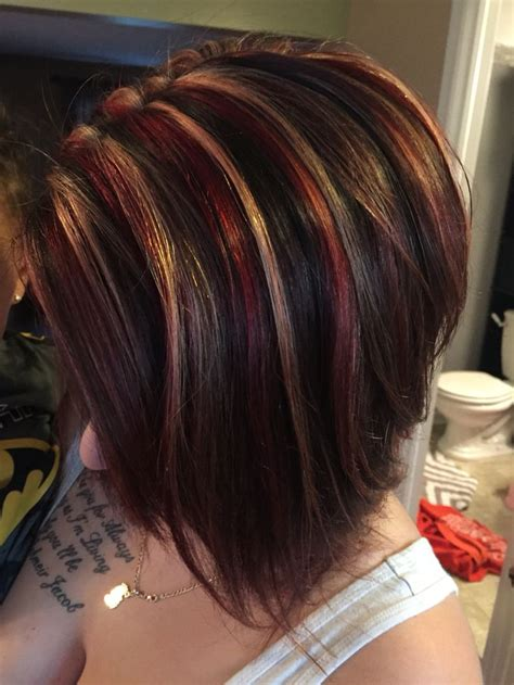red brunette hair color over 50 best 25 short highlighted hairstyles ideas on pinterest