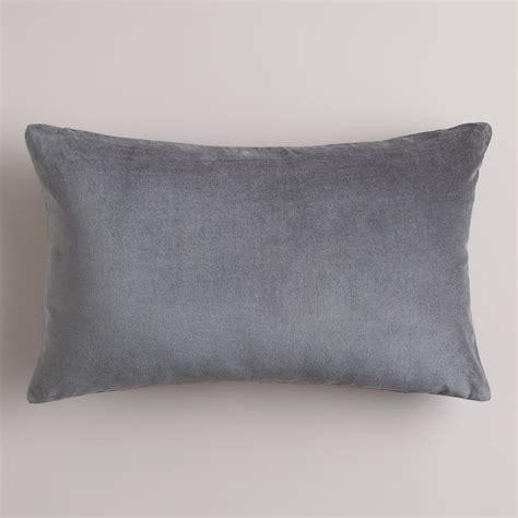 Gray Pillows by Tornado Gray Velvet Lumbar Pillow World Market