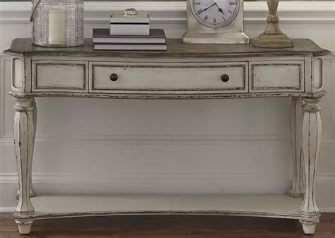 antique white sofa table magnolia manor antique white sofa table from liberty