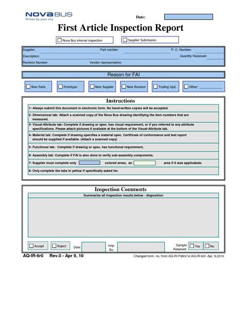 part inspection report template 28 images part