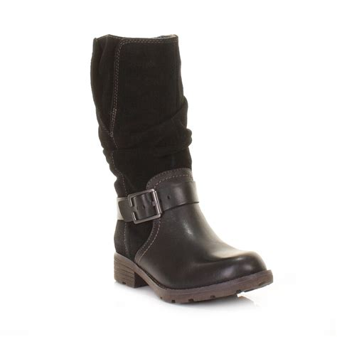 womens clarks national spice black leather suede ankle