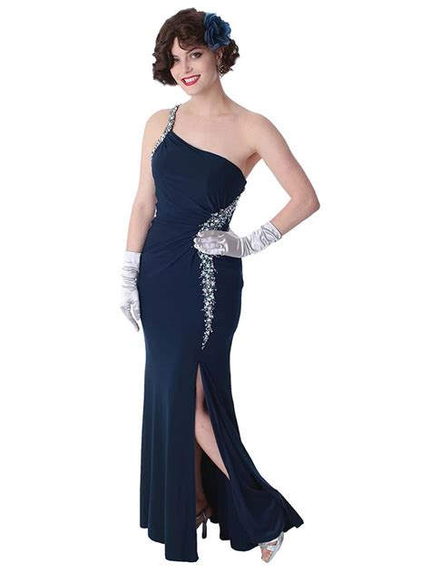 jersey knit gowns navy blue jersey knit one shoulder goddess gown