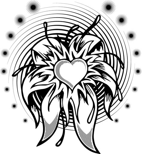 coloring page of a flower heart tattoo with a spiral