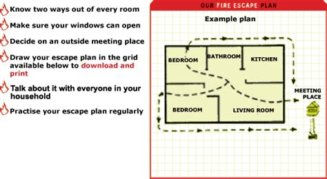 home escape plan grid and