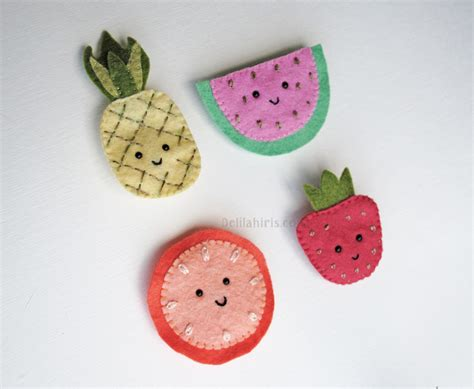 pattern in felt fun fruity felt brooches sewing pattern delilah iris