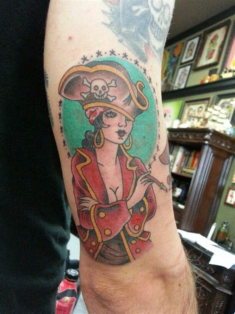 traditional pinup tattoo traditional pirate pin up by steve rieck las