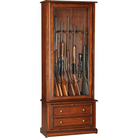 american furniture classics 8 gun cabinet with 2 drawers
