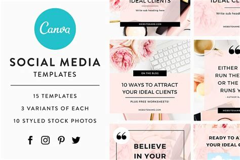 Canva Social Media Templates Social Media Templates On Creative Market Canva Website Template