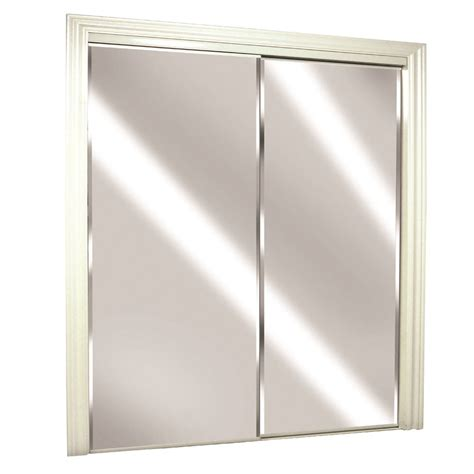 Sliding Mirror Doors For Closet Shop Reliabilt Flush Mirror Sliding Closet Interior Door Common 72 In X 80 In Actual 72 In X