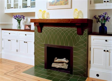 green fireplace green tile fireplace with wood mantel