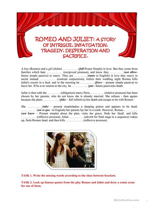 Romeo And Juliet Worksheets by 9 Free Esl Romeo Worksheets