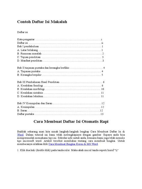 contoh daftar isi  makalah aneka macam contoh