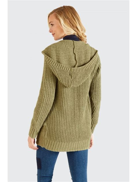 Hooded Cardigan hooded cardigan s khaki cardigan select fashion
