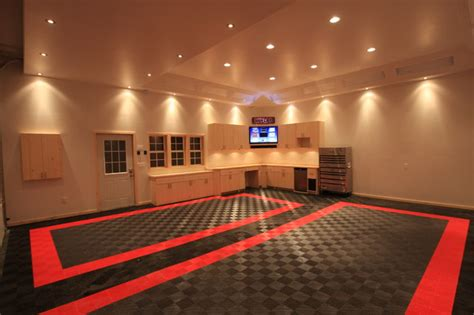 In Garage Lighting by Awesome Home Garage Remodel With Racedeck Garage Flooring