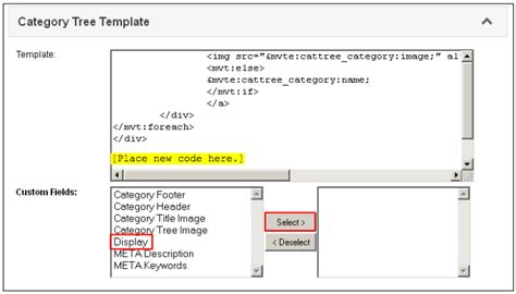 custom category template reference guide utilities custom field groups