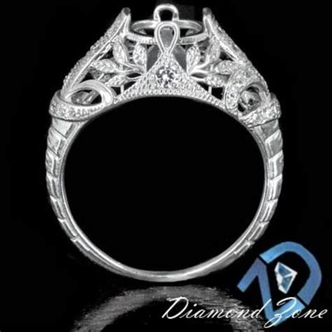 crafted vintage deco semi mount engagement ring