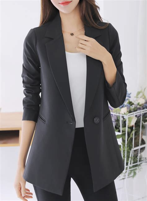 Sleeve One Button Blazer s fashion solid sleeve one button blazer