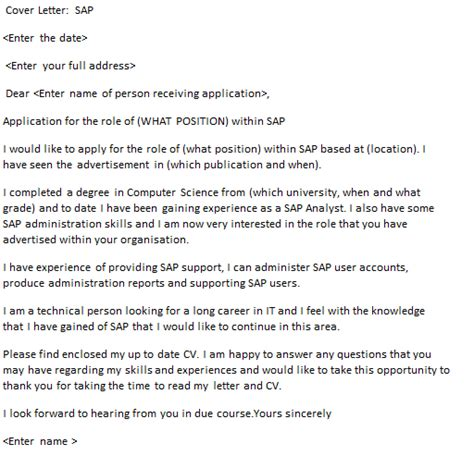 Sap Specialist Cover Letter by Sap Cover Letter Exle Icover Org Uk