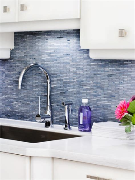 blue tile backsplash kitchen self adhesive backsplash tiles hgtv