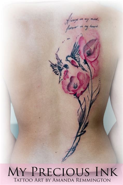 julia tattoo edmonton watercolor abstract bird flowers tattoo by mentjuh on