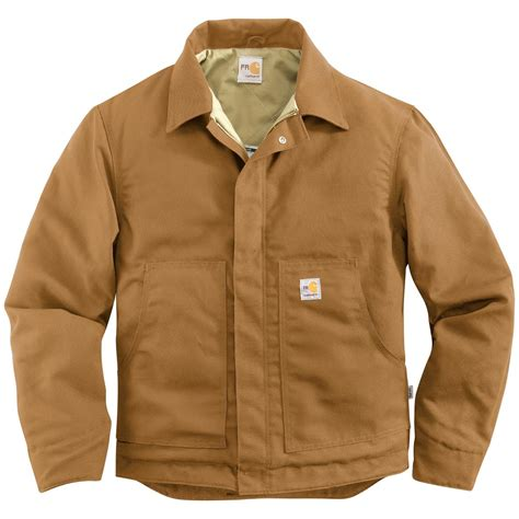 Jaket Canvas Brown Hoodie carhartt resistant quilt lined canvas dearborn jacket 637607 insulated jackets coats