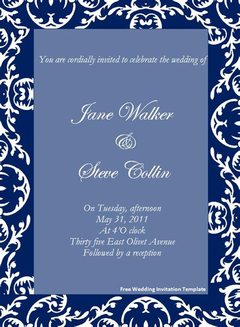 Free Invitation Templates For Word by Free Wedding Invitation Template Page Word