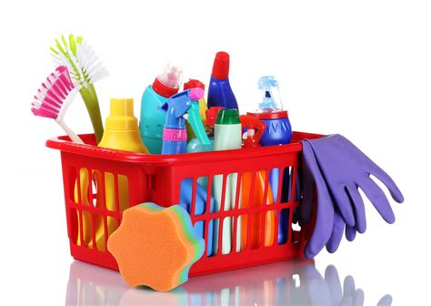 simple list of cleaning supplies for a home with pictures