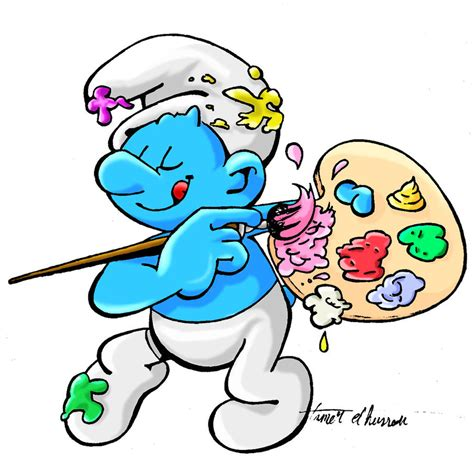 painting smurfs painter smurf pictures to pin on pinsdaddy