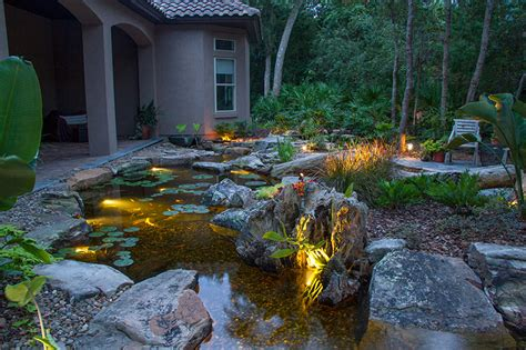 Underwater Landscape Lighting Led Underwater Pond Water Feature Lighting Services Rochester Ny Acorn Ponds Waterfalls