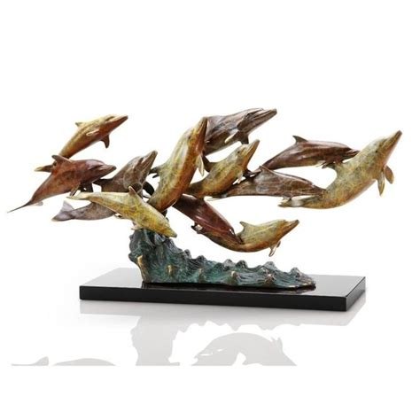 magnificent tropical amazon birds brass glass console brass dozen swimming dolphins sculpture statue nautical