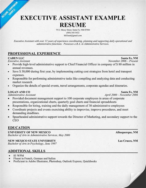 executive assistant resume free executive administrative assistant resumes