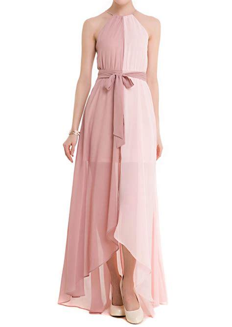 chiffon tassel asymmetric maxi dress with belt fairyseason
