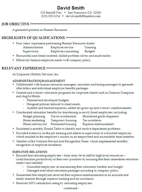 Functional Resume Sample: Generalist Position In Human